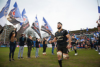 Guy Mercer of Bath Rugby runs out onto the field for the start of the second half. European Rugby Champions Cup match, between Bath Rugby and RC Toulon on January 23, 2016 at the Recreation Ground in Bath, England. Photo by: Patrick Khachfe / Onside Images