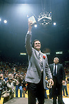 24 MAR 1980:  Louisville coach Denny Crum celebrates after winning the NCAA Men's National Basketball Final Four championship held in Indianapolis, IN, at the Market Square Arena. Louisville defeated UCLA 59-54 for the title. Photo by Rich Clarkson/NCAA Photos.SI CD 1646-45