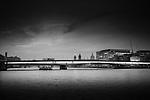 London Bridge at night in black and white