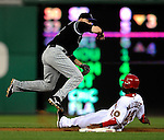 16 August 2008: Washington Nationals' outfielder Lastings Milledge is put out at second for a double-play in the 4th inning against the Colorado Rockies at Nationals Park in Washington, DC.  The Rockies defeated the Nationals 13-6, handing the last place Nationals their 9th consecutive loss. ..Mandatory Photo Credit: Ed Wolfstein Photo