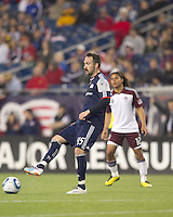 New England Revolution defender Ryan Cochrane (45) passes the ball. In a Major League Soccer (MLS) match, the New England Revolution tied the Colorado Rapids, 0-0, at Gillette Stadium on May 7, 2011.