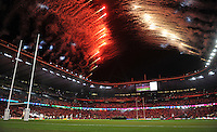 Fireworks are launched from the roof of Twickenham as the teams run out onto the field. Rugby World Cup Pool A match between England and Fiji on September 18, 2015 at Twickenham Stadium in London, England. Photo by: Patrick Khachfe / Onside Images