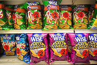 A display of tasty Wise potato chips in a supermarket in New York seen on Tuesday, August 12, 2014. Wise is a brand of Arca Continental, the second-largest Coca-Cola bottler in Latin America. (© Richard B. Levine)