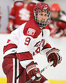 Danny Biega (Harvard - 9) - The Harvard University Crimson defeated the St. Lawrence University Saints 4-3 on senior night Saturday, February 26, 2011, at Bright Hockey Center in Cambridge, Massachusetts.