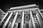 Albert Emanual Hall, University of Dayton, black & white photo of front of building