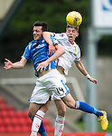 St Johnstone v Inverness Caley Thistle...08.08.15...SPFL..McDiarmid Park, Perth.<br /> Ryan Christie elbows Joe Shaughnessy<br /> Picture by Graeme Hart.<br /> Copyright Perthshire Picture Agency<br /> Tel: 01738 623350  Mobile: 07990 594431