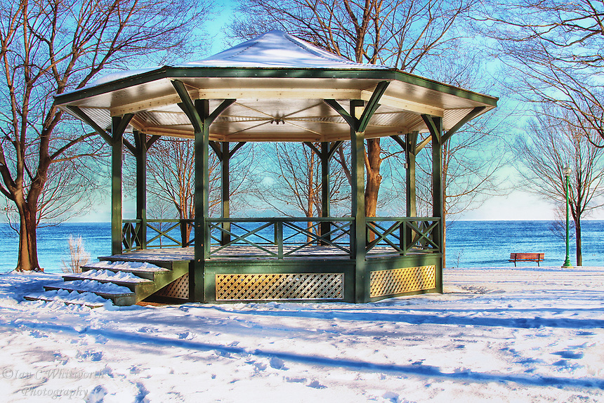 Gazebo in the winter on the shore of Lake Ontario in Oakville