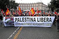 Roma  18 Febbraio 2006.Manifestazione per la Palestina .Manifestanti con uno striscione  dove è scritto: Palestina Libera. Stato Palestinese indipendente subito..Rome, February 18, 2006 .Demonstration for Palestine.The banner reads: Free Palestine. Independent Palestinian state now.