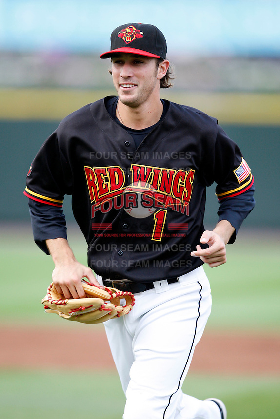 July 22, 2009:  Shortstop Trevor Plouffe of the Rochester Red Wings during a game at Frontier Field in Rochester, NY.  The Red Wings are the Triple-A International League affiliate of the Minnesota Twins.  Photo By Mike Janes/Four Seam Images
