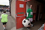 The home team's club mascot waiting to start work at Seaview Park, Belfast before Northern Irish club Crusaders take on Fulham in a UEFA Europa League 2nd qualifying round, fist leg match. The visitors from England won by 3 goals to 1 before a crowd of 3011.
