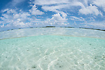 Blue Lagoon, Rangiroa Atoll, Tuamotu Archipelago, French Polynesia; an over under view of the turquoise blue shallow waters of the blue lagoon, with blue sky and clouds overhead