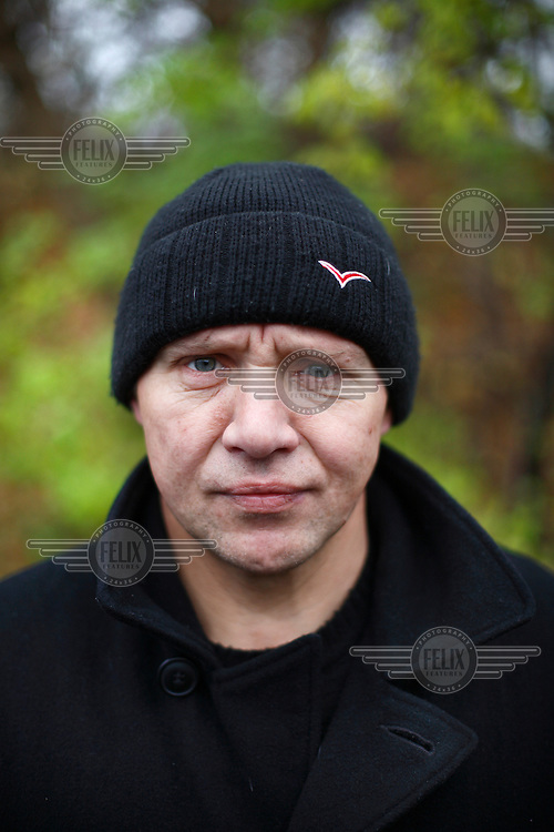 Heroin drug user Mecslau. He belongs to a group of dozens of addicts that come every day to receive clean needles and syringes from a team of social workers from a hospital in Vilnius who attempt to reduce the harm caused by addiction.