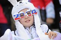 OLYMPICS: SOCHI: Adler Arena, 19-02-2014, Ladies' 5000m, Russian fan, ©photo Martin de Jong