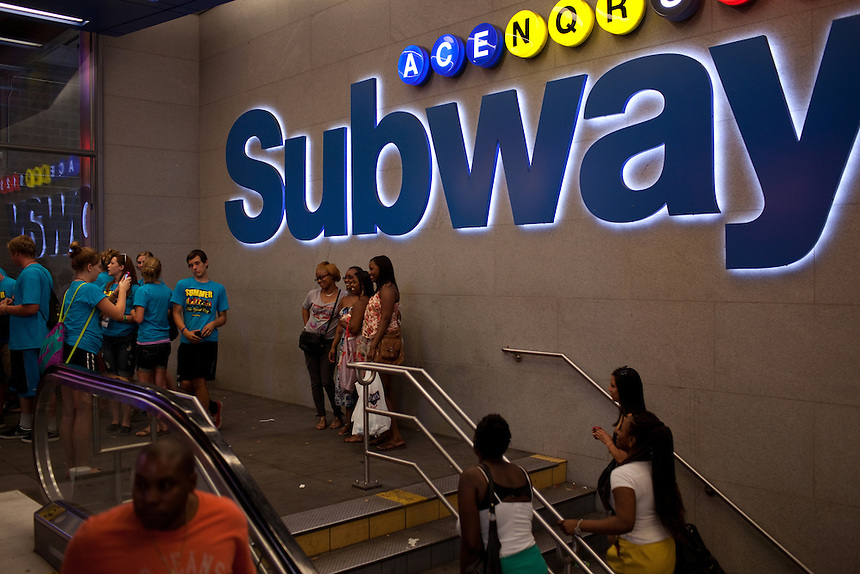 Times Square outside the A train subway stop in New York on June 23, 2012.