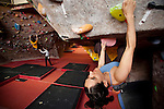 Climbers at the Stone Gardens climbing gym, Seattle, Washington, USA. Sport climbers and boulderers at Stone Gardens, an indoor climbing in Seattle, Washington.