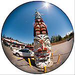 Totem pole in the parking lot of Ray's Food Place, Weed, Calif.