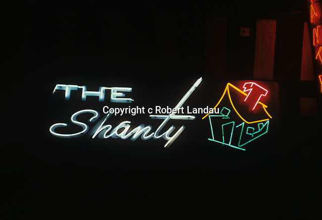 Neon sign at The Shanty a  bar in Los Angeles, CA