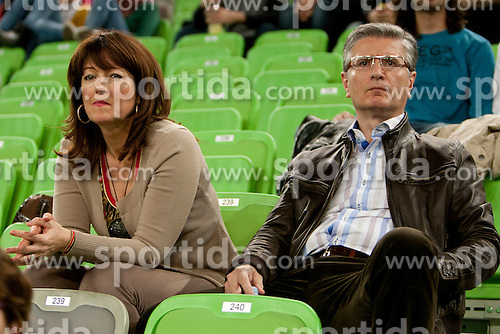 Franjo Bobinac president of RZS and his wife during handball match between Women National Teams of Slovenia and Czech Republic of 4th Round of EURO 2012 Qualifications, on March 25, 2012, in Arena Stozice, Ljubljana, Slovenia. (Photo by Urban Urbanc / Sportida.com)