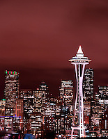Seattle Skyline and Space Needle from Queen Anne Hill during night.