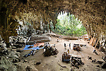 Liang Bua Cave, discovery site of the Flores hobbit, Homo floresiensis. Archaeologists excavate two deep pits at right. Sediment is hauled out by the bucketful, wet-seived in a nearby aqueduct, then returned to the cave where it will be used to backfill the pits at the end of the field season. Some 200 tons of sediment are meticulously processed within the span of a few months.