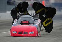Nov. 12, 2011; Pomona, CA, USA; NHRA funny car driver Gary Densham during qualifying at the Auto Club Finals at Auto Club Raceway at Pomona. Mandatory Credit: Mark J. Rebilas-.