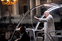 Pope Francis visiting the crib in St. Peter's square at the Vatican on December 31,