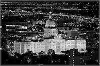 The Texas State Capitol at night taken from a nearby high-rise, Austin, Texas.