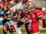 Tampa Bay Buccaneers middle linebacker Kwon Alexander (58) rushes San Francisco 49ers quarterback Colin Kaepernick (7) on Sunday, October 23, 2016, at Levis Stadium in Santa Clara, California. The Buccaneers defeated the 49ers 34-17.