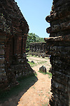 The fierce morning sun beats down, and shade is scarce at the main temple complex in My Son, Vietnam. The site was the primary religious center and royal burial grounds for the Champa kingdom, which flourished from 400 to 1500 A.D. and encompassed most of south and central Vietnam.  The temples were dedicated to the worship of the Hindu god Shiva. The most important structures were excavated and restored under French colonial rule, but many were heavily damaged or completely destroyed by American bombing during the Vietnam War. April 25, 2012.