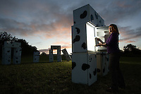 Fridgehenge in Wiltshire is set up to mark the coming of the winter equinox, and to promote the work of the Organic Milk Co-operative.