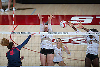 STANFORD, CA - October 14, 2016: Merete Lutz,Kelsey Humphreys,Inky Ajanaku at Maples Pavilion. The Arizona Wildcats defeated the Cardinal 3-1.