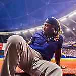 2 April 2016: Boston Red Sox infielder Hanley Ramirez sits on the steps of the dugout during a pre-season exhibition game against the Toronto Blue Jays at Olympic Stadium in Montreal, Quebec, Canada. The Red Sox defeated the Blue Jays 7-4 in the second of two MLB weekend games, which saw a two-game series attendance of 106,102 at the former home on the Montreal Expos. Mandatory Credit: Ed Wolfstein Photo *** RAW (NEF) Image File Available ***