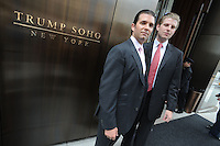 Donald Trump Jr. and Eric Trump attend the ribbon cutting ceremony for Trump SoHo New York in New York City April 9, 2010.. Credit: Dennis Van Tine/MediaPunch