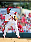 10 March 2010: St. Louis Cardinals' pitcher Francisco Samuel on the mound during a Spring Training game against the Washington Nationals at Roger Dean Stadium in Jupiter, Florida. The Cardinals defeated the Nationals 6-4 in Grapefruit League action. Mandatory Credit: Ed Wolfstein Photo