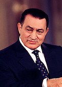 President Hosni Mubarak of Egypt listens to a question during a joint press conference with U.S. President Bill Clinton in the East Room of the White House in Washington, D.C. on Monday, March 10, 1997..Credit: Ron Sachs / CNP