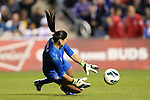20 October 2012: Hope Solo (USA) makes a save. The United States Women's National Team played the Germany Women's National Team at Toyota Park in Bridgeview, Illinois in a women's international friendly soccer match. The game ended in a 1-1 tie.