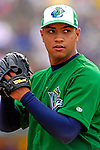 30 June 2007: Vermont Lake Monsters starting pitcher Hassan Pena warms up prior to a game against the Lowell Spinners at Historic Centennial Field in Burlington, Vermont. The Spinners defeated the Lake Monsters 8-4 in the last game of their 3-game, NY Penn-League series...Mandatory Photo Credit: Ed Wolfstein Photo