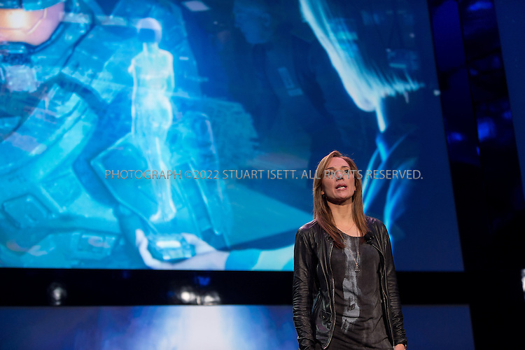 "5/21/2013--Redmond, WA, USA..At Microsoft's Redmond Campus in WASH., the company unveiled it's next generation XBox gaming system, the XBox One. The console's new features include voice command, cloud integration, universal gestures and the familiar Xbox Live home screen...Here, Bonnie Ross, general manager of Microsoft's 343 Industries studio, which manages the ""Halo"" franchise. ..Award-winning filmmaker Steven Spielberg will executive produce an original ""Halo"" television series based on the popular video games. It will have exclusive interactive Xbox One content...The blockbuster game franchise inspired a 90-minute Web series, ""Halo 4: Forward Unto Dawn,"" that put the video game's protagonist, Master Chief, at the center of the cinematic action.  The fall release helped drive sales of the ""Halo 4"" game.  The games have sold more than 50 million titles...Now, Spielberg will continue exploring the space marine's narrative in a live-action TV series based on ""Halo's"" universe...Photograph ©2013 Stuart Isett. All rights reserved."