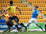 St Johnstone v Partick Thistle...29.03.14    SPFL<br /> Stevie May is fouled by Aaron Taylor-Sinclair<br /> Picture by Graeme Hart.<br /> Copyright Perthshire Picture Agency<br /> Tel: 01738 623350  Mobile: 07990 594431