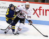 Ben Bahe (Merrimack - 17), Drew Ellement (NU - 2) - The Northeastern University Huskies defeated the visiting Merrimack College Warriors 4-2 (EN) on Wednesday, October 10, 2012, at Matthews Arena in Boston, Massachusetts.