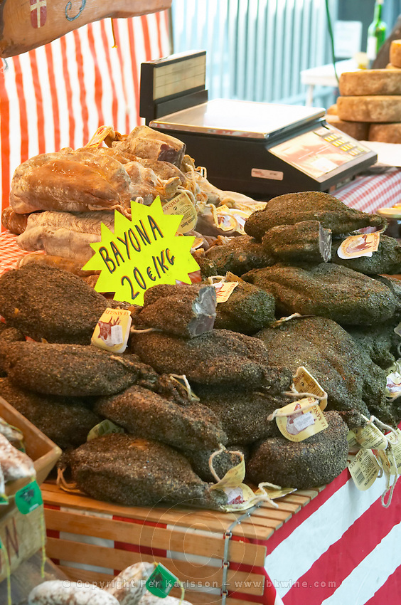 On a street market. Dry cured ham. From wild boar. Bordeaux city, Aquitaine, Gironde, France