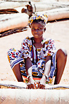 Awoman sells  straw mats at the weekly market in Djibo in northern Burkina Faso.