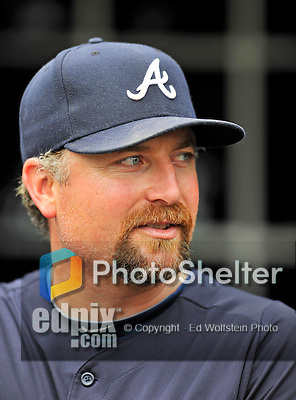 24 September 2011: Atlanta Braves pitcher Scott Linebrink stands in the dugout prior to a game against the Washington Nationals at Nationals Park in Washington, DC. The Nationals defeated the Braves 4-1 to even up their 3-game series. Mandatory Credit: Ed Wolfstein Photo