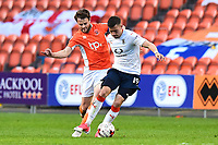 Blackpool's Andy Taylor vies for possession with Luton Town's Oliver Lee<br /> <br /> Photographer Richard Martin-Roberts/CameraSport<br /> <br /> The EFL Sky Bet League Two Play-Off Semi Final First Leg - Blackpool v Luton Town - Sunday May 14th 2017 - Bloomfield Road - Blackpool<br /> <br /> World Copyright &copy; 2017 CameraSport. All rights reserved. 43 Linden Ave. Countesthorpe. Leicester. England. LE8 5PG - Tel: +44 (0) 116 277 4147 - admin@camerasport.com - www.camerasport.com