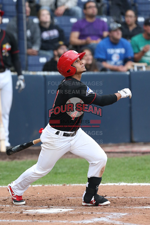 Franklin Barreto #4 of the Vancouver Canadians bats against the Hillsboro Hops at Nat Bailey Stadium on July 24, 2014 in Vancouver, British Columbia. Vancouver defeated Hillsboro, 5-2. (Larry Goren/Four Seam Images)