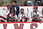 Ty Pelton-Byce (Harvard - 11), Rob Rassey (Harvard - Assistant Coach), Nathan Krusko (Harvard - 13), Devin Tringale (Harvard - 22), Lewis Zerter-Gossage (Harvard - 77) - The Harvard University Crimson defeated the visiting Cornell University Big Red on Saturday, November 5, 2016, at the Bright-Landry Hockey Center in Boston, Massachusetts.