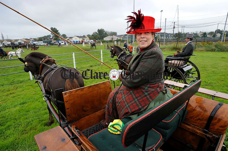 Sarah Mullins taking part in the driving class at the Clare County Show in Ennis. Photograph by John Kelly.