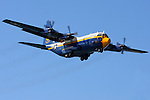 The C-130 Hercules affectionately known as Fat Albert passes into the airshow box as part of its flight demonstration during the 2008 San Francisco Fleet Week activities. Serving as the support aircraft for the U.S. Navy Blue Angels the Marine crewed aircraft often proceeds the Navy's flight demonstration at air shows around the world as well as serving as the team's support aircraft.