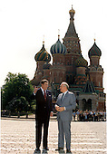 United States President Ronald Reagan and General Secretary Mikhail Gorbachev of the Union of Soviet Socialist Republics (USSR) in front of St. Basil's Cathedral in Red Square, Moscow, during the Moscow Summit on Tuesday, May 31, 1988..Mandatory Credit: Pete Souza - White House via CNP