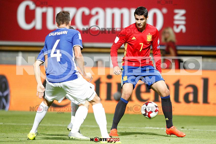 Spain's Alvaro Morata (r) and Liechtenstein's Daniel Kaufmann during FIFA World Cup 2018 Qualifying Round match. September 5,2016.(ALTERPHOTOS/Acero) /NORTEPHOTO